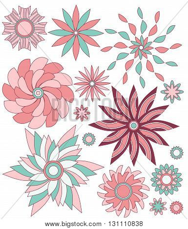 Abstract pink and turquoise floral ornament collection isolated over white background