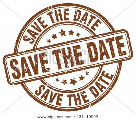 Save The Date Brown Grunge Round Vintage Rubber Stamp.save The Date Stamp.save The Date Round Stamp.
