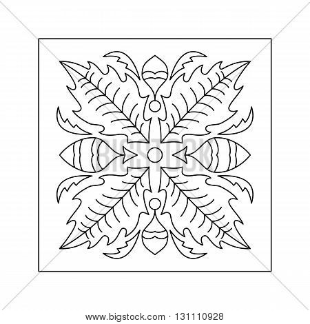 Abstract  floral pattern with leaf. Decorative element.
