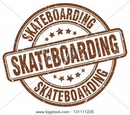 Skateboarding Brown Grunge Round Vintage Rubber Stamp.skateboarding Stamp.skateboarding Round Stamp.