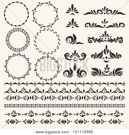 Set of vector decorative elements and pattern brushes for illustrtor. Round frames stripe ornaments headers and corners.