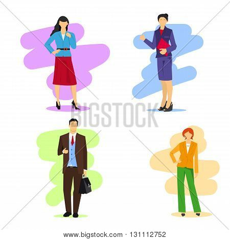 Vector illustration of business man and women isolated. Modern silhouettes in different poses and clothing