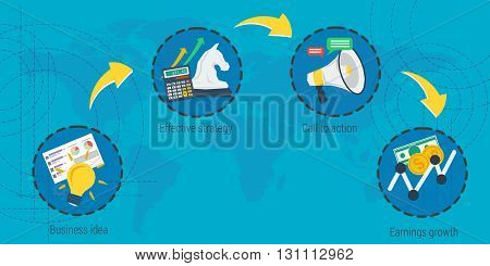 Vector infographic four steps to success. Concept business idea, planning, strategy, earning growth. Start up. Flat style. Web banner for advertising and background