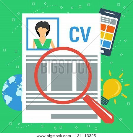 Vector concept personal resume. Woman icon on resume paper, smartphone with app, globe planet and magnifier glass on top in flat style. Writing a resume. CV