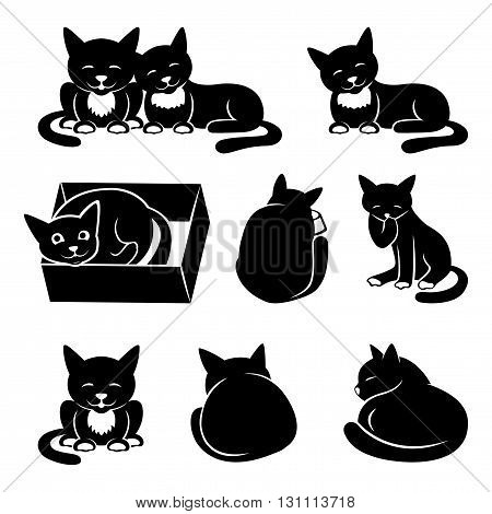 Vector set of cat icons on a white background.