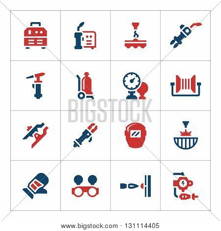 Set color icons of welding isolated on white. Vector illustration
