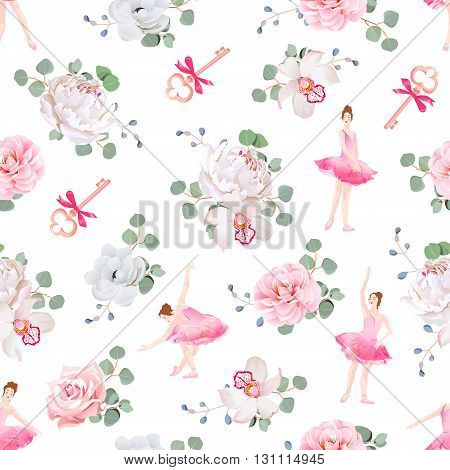 Beautiful ballerinas dance keys with bows and fresh spring flower bouquets seamless vector pattern. Ballet design print.