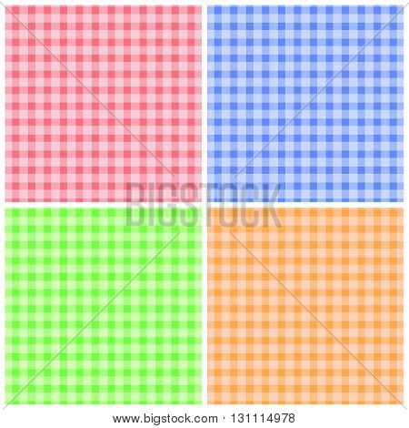 Set of colorful checkered patterns. Pattern color checkered collection, background textile fabric with texture fashion cloth. Stripe material wallpaper cover striped design flat. Vector illustration