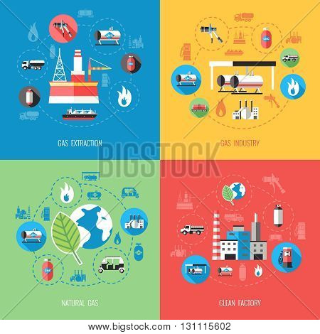 Natural gas industry concept with extraction production storage supply distribution clean factory isolated vector illustration