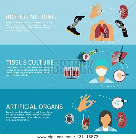 Three horizontal biotechnology banner set with descriptions of Bioengineering tissue culture and artificial organs vector illustration