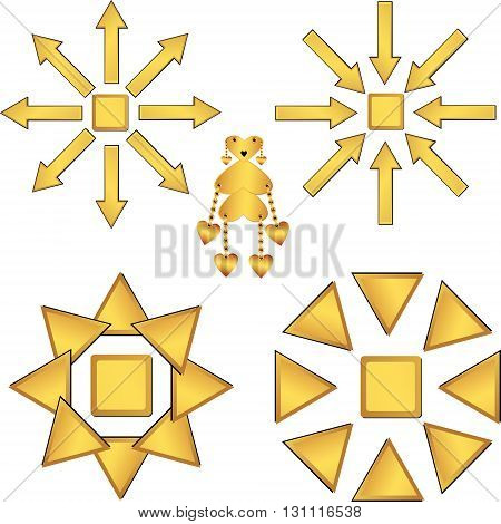 Set of gold vector drawings without background support
