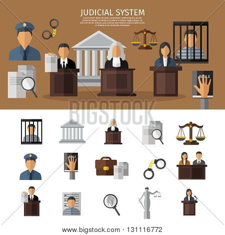 Judical system banner with sitting in the courtroom jurors the judge and prisoner in jail vector illustration