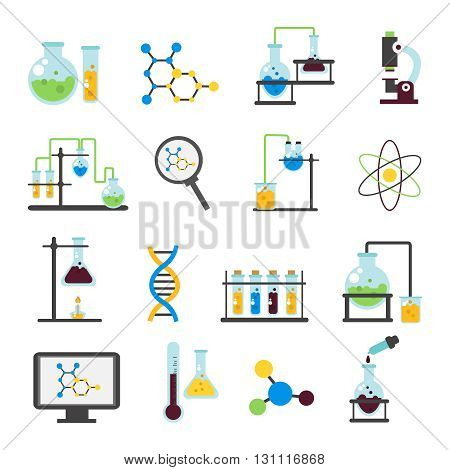 Chemistry lab flat icon set accessorise element and equipment for work in laboratory vector illustration
