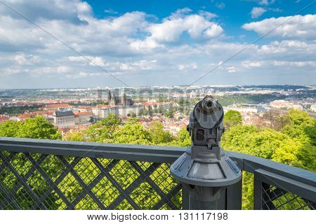 aerial view of Prague from Petrin hill