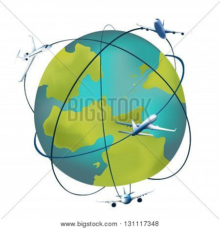 Earth planet with airplanes around. Vector illustration of a cartoon design earth planet globe with aircrafts and flight paths isolated on white.