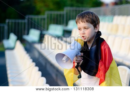 Germany Fan Screaming Through Megaphone On The Stadium