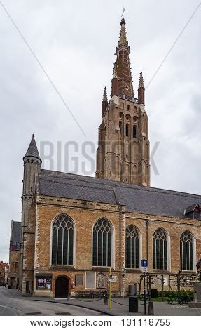 The Church of Our Lady in Bruges Belgium. Its tower at 122.3 metres (401 ft) in height remains the tallest structure in the city and the second tallest brickwork tower in the world
