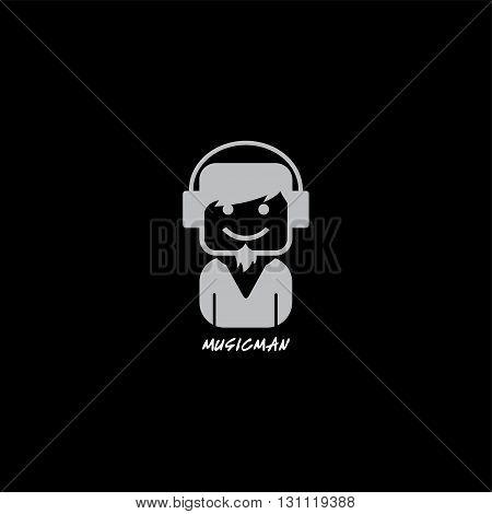 music disk jockey with headphone logotype theme vector art illustration