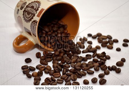 sown with coffee beans lying brown coffee cup