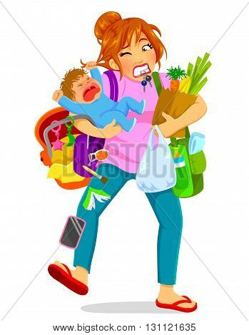stressed woman carrying a crying baby and a lot of luggage