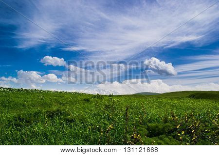 Clouds and blue sky on plato in Aksu canyon