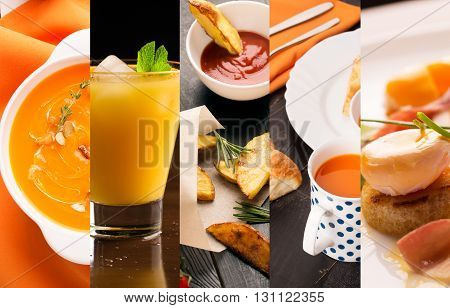 Collage of photos of natural food (starters and main courses)