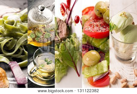 Collage of photos of natural food (in green colors)