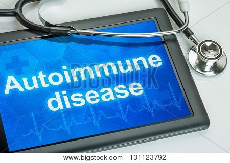 Tablet With The Diagnosis Autoimmune Disease On The Display