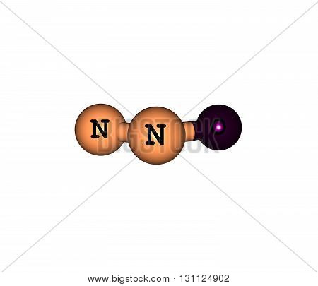 Nitrous oxide laughing gas is a chemical compound with the formula N2O. It is an oxide of nitrogen. 3d illustration