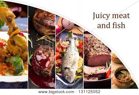 Food collage of photos of juicy meat and fish with vegetables