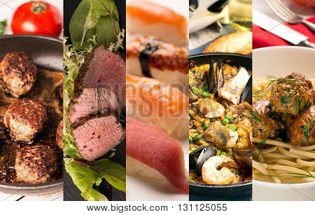 Food collage of photos of juicy meat and seafood