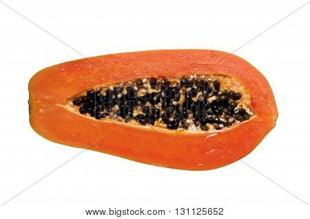 Half cut papaya fruits isolate on white background .