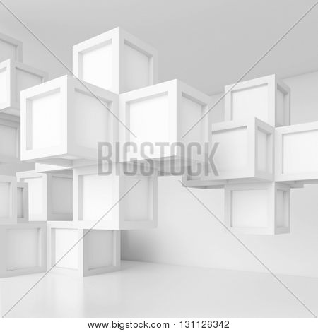 3d Illustration of White Cubes Background. Abstract Futuristic Design
