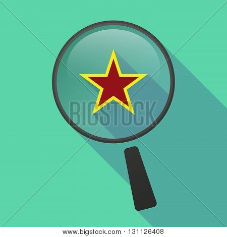 Long Shadow Magnifier Vector Icon With  The Red Star Of Communism Icon