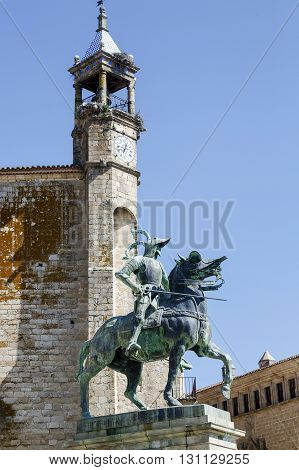 Equestrian statue of Francisco Pizarro (conqueror of Peru) in Trujillo main square province of Caceres Spain