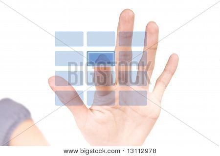 Hi-Tech botón en blanco. Teclado Virtual de la seguridad.