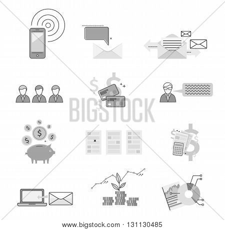 Set icon financial saving and notification. Graph and chart growth development money. Notification message gps information about capital development finance design flat style. Vector illustration