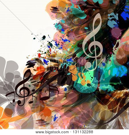 Music vector background from colorful ink spots floral brochure or flyer