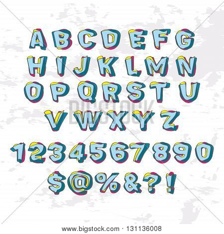 Abstract modern alphabet. The letters of the layers of different shape and color.