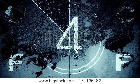Film leader countdown frame showing the number four. High resolution illustration 10885.