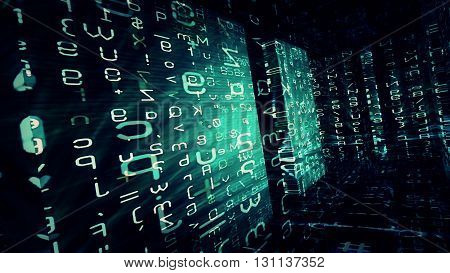 Conceptual futuristic technology digital light abstraction. High resolution illustration 10889.