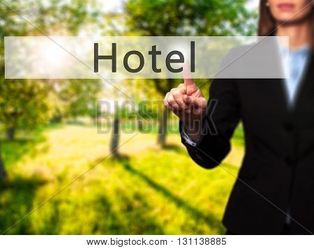 Hotel - Businesswoman Hand Pressing Button On Touch Screen Interface.