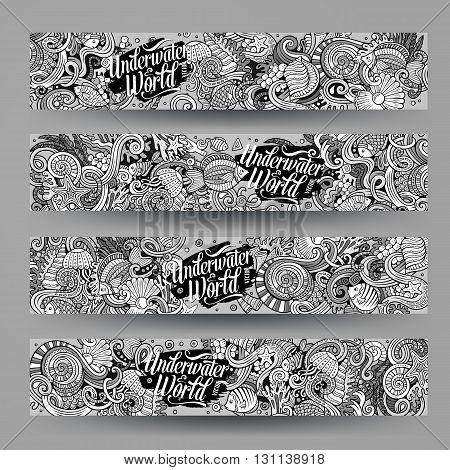 Cartoon vector hand-drawn underwater life, marine doodle corporate identity. 4 Horizontal banners design. Templates line art set
