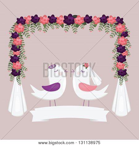 Chuppah halacha with birds. Jewish wedding invitation.
