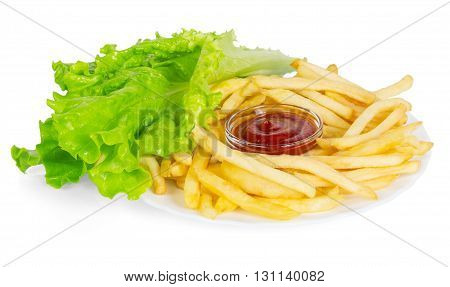 French fries, sauce and lettuce isolated on white background.