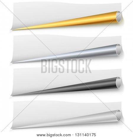 Set of paper page bottom rolls vector template. Golden, chrome, black and white bottom paper curls. Scalable vector template for the bottom of leaflet, poster,  web page or banner.