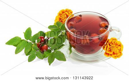 Cup of tea rosehip berries and autumn flowers isolated on a white background.