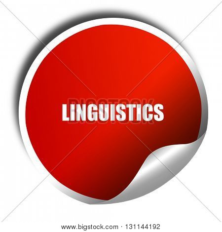 linguistics, 3D rendering, red sticker with white text