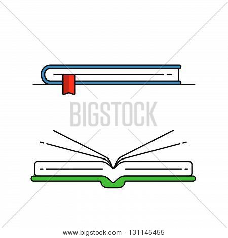 Stack of colored books. The logo of the bookstore. The book icon. Bookstore or library. The book on the shelf. Tutorial book. Books on the table