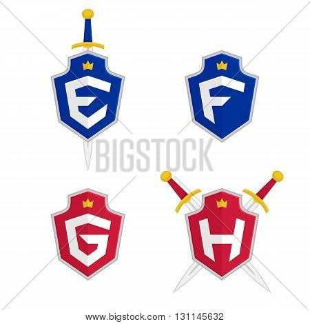 Letter E, F, G, H vector logo templates. Letter logo with shield and sword. Luxury logo, safety logo.